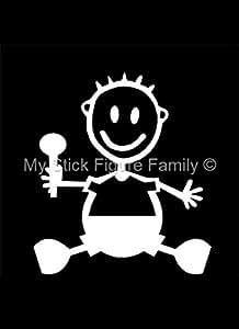 My Stick Figure Family - Mis Pegue la figura familia de coches pegatina de vinilo ventana bebé hijo sentado BB1