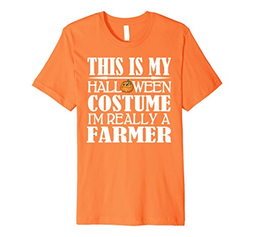 Mens Farmer Halloween Costume Premium Shirt - Men Women Youth 2XL Orange