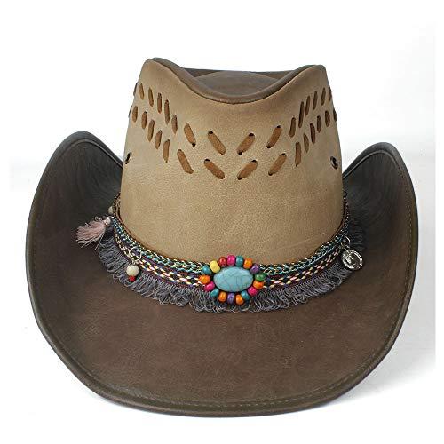 Women Gem Tassel Leather Western Cowboy Hat With Roll Up Brim Punk Belt Funny Party Cap