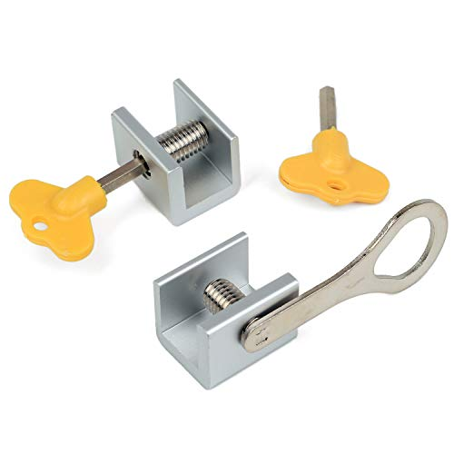 Zeltauto Adjustable Sliding Window Locks Door Frame Security Locks with Key, 2 Set