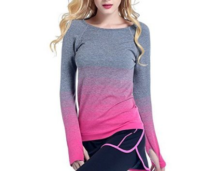 Sports Shirt Yoga Fitness Running Tops Stretchy Gradient Color Base Layer Minzhi