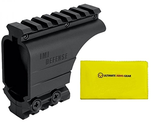 IMI Defense Universal Weaver Picatinny Rail Pistol Handgun Scope Sight Polymer Mount Stealth Black + Ultimate Arms Gear Care and Reel Silicone Cleaning Cloth