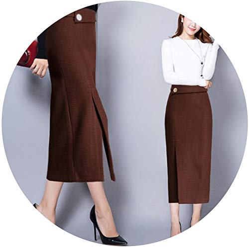 Women Skirts Winter Elegant Office Wear Long Skirts Female Bodycon Bandage Vintage Skirts,Khaki,XXL -