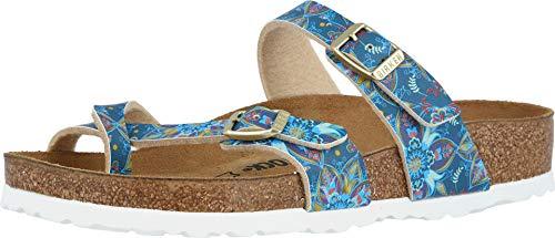 Birkenstock Women's Mayari Birko Flor Sandal Boho Flowers Blue Size 36 M EU (Sandals Women Blue)