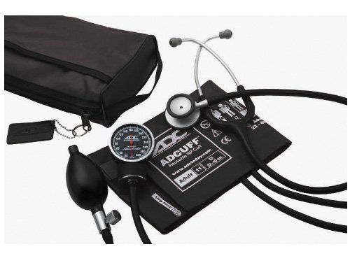 ADC Pro's Combo V Adult Pocket Aneroid/Scope Kit with Diagnostix 720 Blood Pressure Sphygmomanometer, Adscope-Lite 609 Lightweight Clinician Stethoscope with Carrying Case, Black