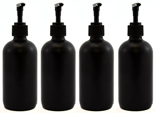 Black 8oz Boston Round Glass Bottles w/ Matte Finish, Pump Nozzles Included (4 Pack); great for lotions & liquid soap (Ravens Soap Dispenser compare prices)
