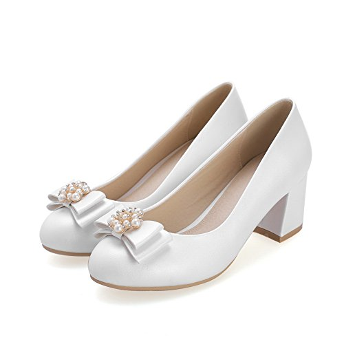 BalaMasa donna, con perline a punta rotonda kitten-heels Pull-On solido gomma pumps-shoes, Bianco (White), 35