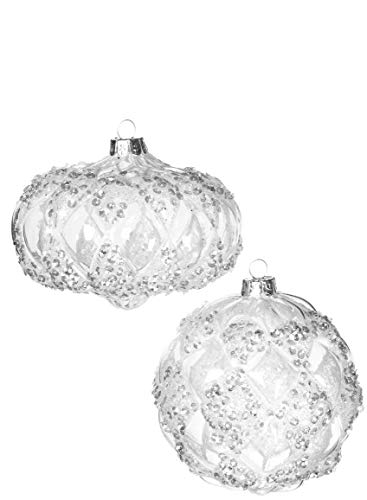 - Sullivans Clear Glittered Arygle Glass Hanging Christmas Ornaments Assorted Set of 2