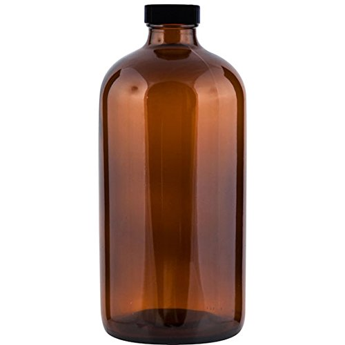 The Cary 30WA32B Boston Round Growlette Beer Growler with Black Cap, 32 oz., Glass, 3.72' ID, Amber (Pack of 12)