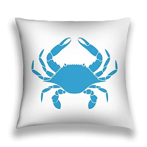 YILINGER Throw Pillow Cushion Cover, Colorful Modern Design Digital Modern Art Print, Decorative Square Accent Pillow Case, 18 X 18 inches, Blue Crab Logo Isolated Crab White Background ep ()