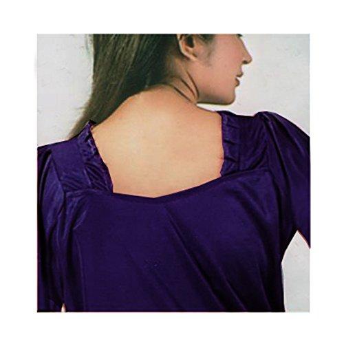 The Orange Tags - Camisón - cuello cuadrado - manga 3/4 - para mujer Morado Oscuro
