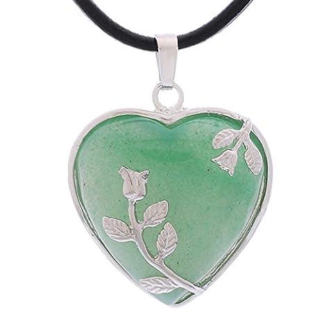 MJartoria Heart Shape Flower Deco Green Tumbled Chakra Pendant PU Leather Cord Choker Necklace