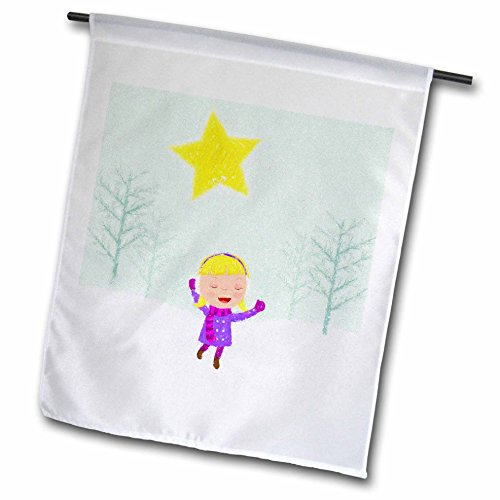Caroling Snow (3dRose Doreen Erhardt Christmas Collection - Caroling Girl in the Snow Kids Cray Drawing Style in Pink and Purple - 18 x 27 inch Garden Flag (fl_266770_2))