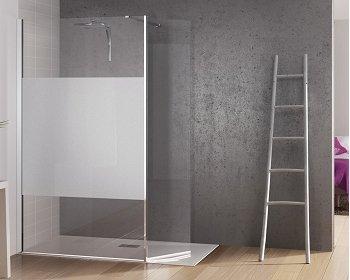 Paroi de douche fixe avec bande centrale dépolie + volet pivotant