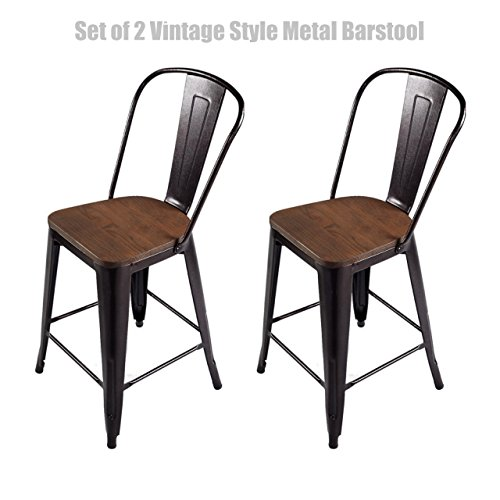Vintage Style Metal Barstool Solid Steel Construction Comfortable Backrest Scratch Resistant Side Chair Home Office Furniture - Set of 2 Copper 24