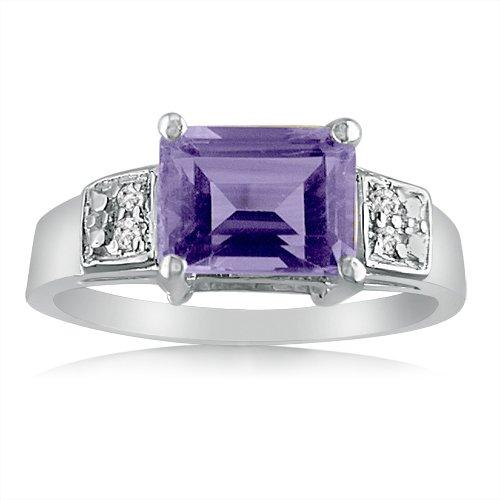 Sterling Silver Emerald Cut Amethyst and Diamond Ring (1 1/2ct tgw Sizes 5-8) sz 6