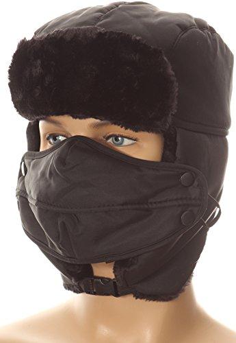 Sakkas 16161   Esty Adjustable Chin Buckle Faux Fur Lined Face Mask Unisex Trooper Hat   Black   Os