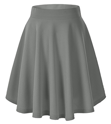 Urban CoCo Women's Basic Versatile Stretchy Flared Casual Mini Skater Skirt (Small, Grey-Long)