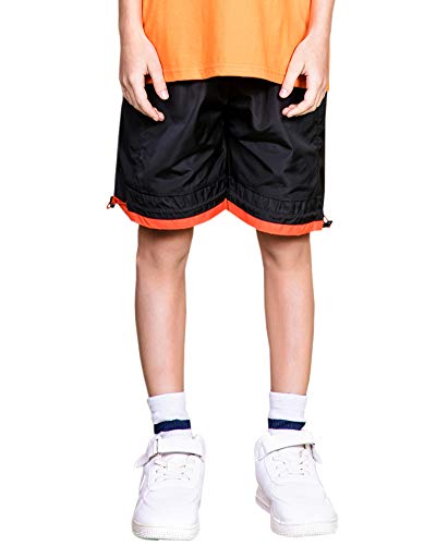 Welity Boys' Girls' Athletic Workout Gym Running Shorts with Pockets, Beach Board Short for Youth Boys & Girls, Black, 13-14 Years=Tag 170 by Welity (Image #1)