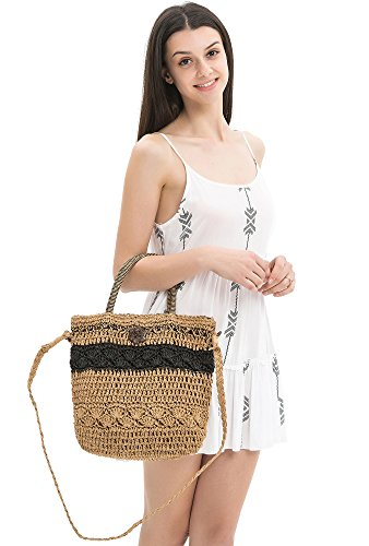 Straw Crochet Crossbody Tote Bag With 1