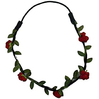 Red Flower Wreath Garland Updo Hair Band Elastic with Roses