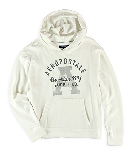 (Aeropostale Womens Brooklyn Supply Co. Hoodie Sweatshirt, Off-White, Large)