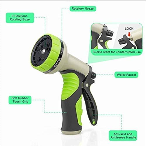 YLCCC Multi-Function Expandable Garden Hose, Expanding Water Hose 9 Function Spray Gun No-Leaking Flexible Hose Pipes for Home Garden
