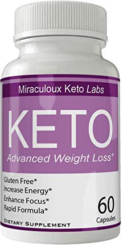 Miraculoux Keto Pills Advance Weight Loss Supplement, Appetite Suppressant with Ultra Advanced Natural Ketogenic Capsules, 800 mg Fast Formula with BHB Salts Ketone Diet Boost Metabolism and Focus