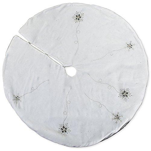 56 inch White Velvet Beaded Jewel Plush Fabric Christmas Tree Skirt Beaded Christmas Tree Skirt