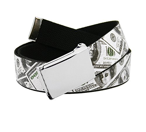 [Men's Silver Flip Top Belt Buckle with Printed Canvas Web Belt Large Cash Money Print] (Money Belt Buckle)