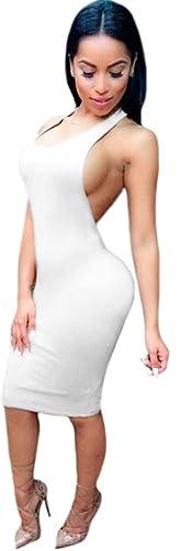 Kearia Women Sexy Sleeveless Backless Clubwear Cut Out Bandage Bodycon Mini Dress