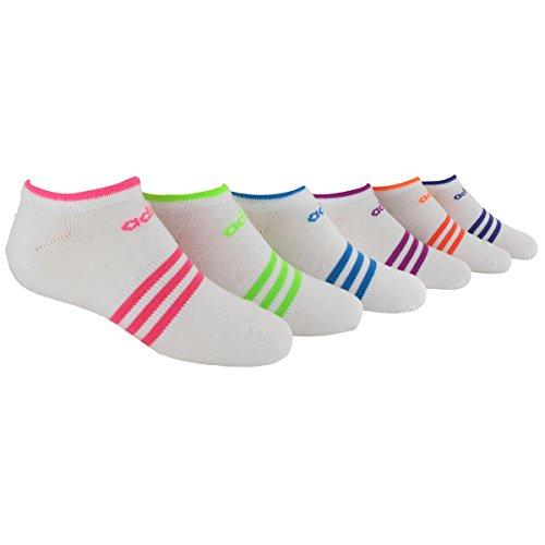 adidas Kids - Girls Superlite No Show Socks (6-Pair), White/Solar Pink/Solar Green/Solar Blue/Vivid Pink/Glow Orange/Power Purple - Stripes, Large
