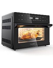 iRoastec Aerofryer Oven 30L 1800 Watt, XXL hetelucht fryer met 18 voorgeprogrammeerd bakprogramma's voor bijvoorbeeld dual koken,rotisserie,dehydrateren,bakken,grillen,frituren,roosteren en ook nog eens zonder oile heteluchtoven frituren (met recepten)