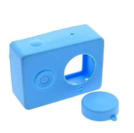 kingken portátil carcasa de silicona con tapa del objetivo para Xiaomi Yi cámara de acción (azul)