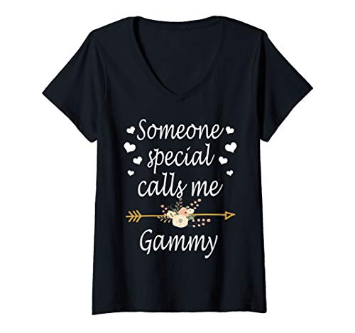 (Womens Someone Special Calls Me Gammy Mothers Day V-Neck T-Shirt)