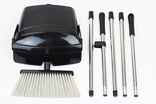 Broom and Dustpan Set, Commercial Long Handle Sweep Set and Lobby Broom,Upright Grips Sweep Set with Broom for Home, Kitchen, Room, Office and Lobby Floor Dust Pan & Broom Combo, Black by Laixiu (Image #7)