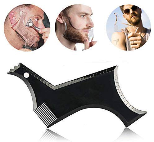 Inaaya Beard Styling Shaping Template Beard Comb Tool Symmetry Trimming Shaper Stencil Pack Of 1 (Black) product image