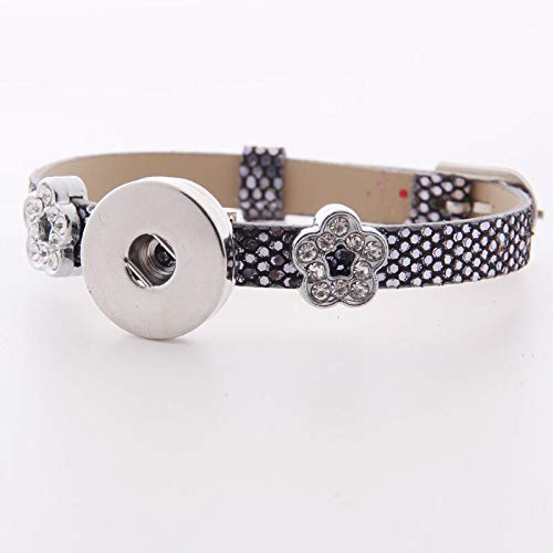 (HOT DIY 1pcs Charm Silver Rhinestone wristband For Noosa snaps chunk button #28)