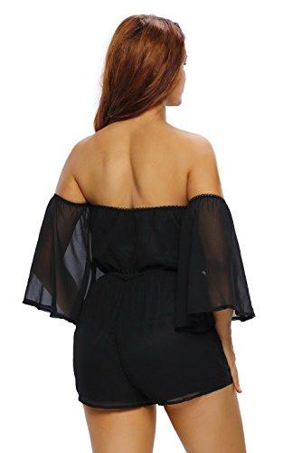 La Vogue Femme Combishort Robe Noir Playsuit Mesh Mini Short Clubwear