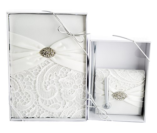 Maven Gifts: Lillian Rose Wedding Ceremony Cream Vintage Lace Guest Book with Lillian Rose Cream Vintage Lace Pen Set ()