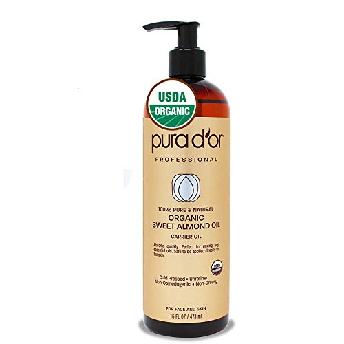 PURA D'OR Carrier Oil: Organic Sweet Almond Oil 16 oz USDA Certified Organic 100% Pure & Natural Soothing Oil for Skin & Face (Best Way To Naturally Lighten Dark Hair)