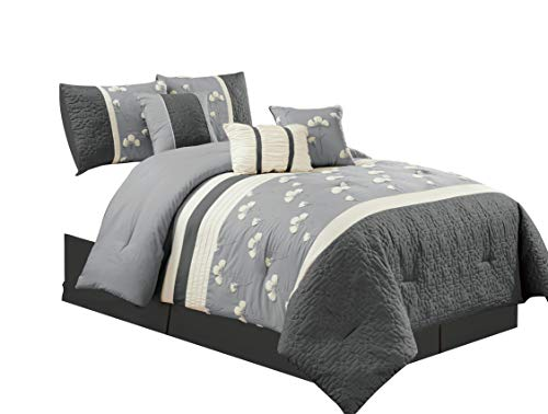 Chezmoi Collection Sophia 7-Piece Chenille Poppy Flowers Pleated Embroidery Floral Bedding Comforter Set (Queen, Gray)