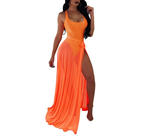 (BANLAN Women Sexy Backless Bodysuit Lace up See Through Maxi Skirt Set 2 Piece Swimsuit)