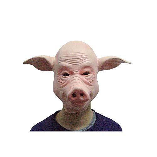 Halloween Party Performance Props Halloween Supplies Animal Masks Bald Pig Mask Headgear]()