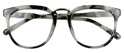 Basik Eyewear - Oversize Clear Lens Round Fashion Vintage Aviator Sun Glasses (Marble, 5 - For Faces Glasses Reading Asian