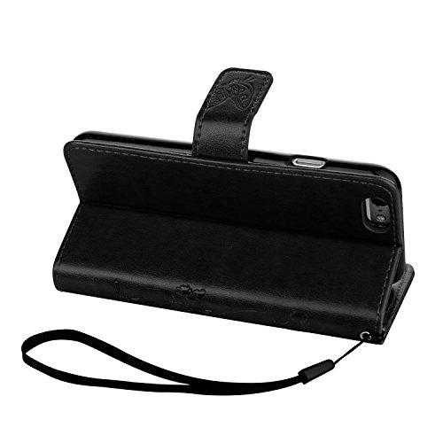 ZeWoo Folio Ledertasche - LD103 / Edles schwarz - für Apple iPhone 6 plus (5.5 Zoll) PU Leder Tasche Brieftasche Case Cover