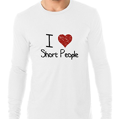 Hollywood Thread I Love Short People With Big Red Heart Graphic Men's Long Sleeve - Big With Cheeks People