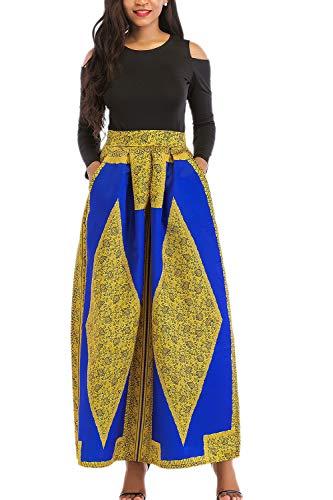 Yacun Las Mujeres Africanas Imprimir Una Linea Larga Coctel Vestido De Dos Piezas Oro
