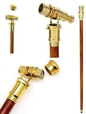 Brass Mechanical Gadget Telescope Handle Cane Wood Walking Stick
