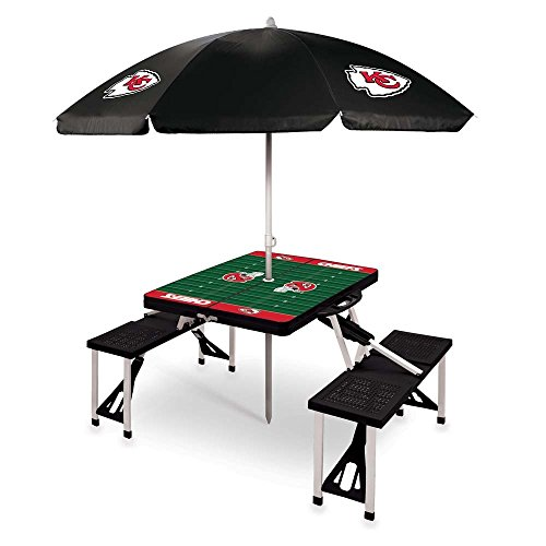 NFL Kansas City Chiefs Picnic Table Sport with Umbrella Digital Print, One Size, Black by PICNIC TIME